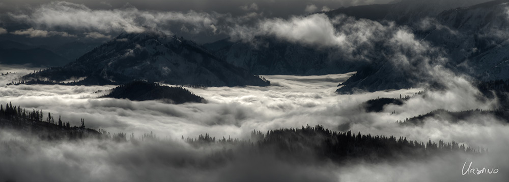 SnoCone - This photo of the Lake Wenatchee valley filled with a lake of mist has been one of my most popular panoramic images. It is not a black and white image. As a metal print the image has great depth and shows the dramatic winter scenes so indicative of the North Cascades.