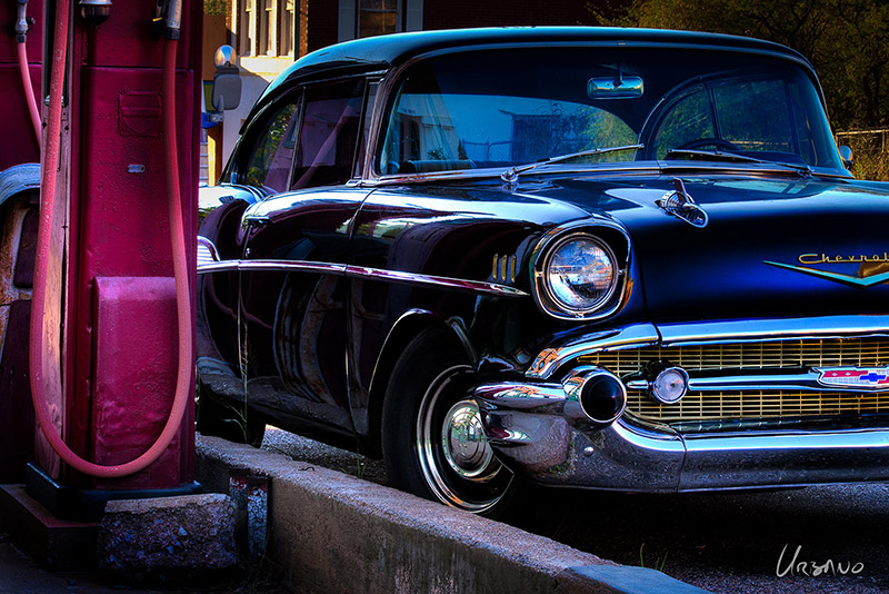 A great photo of one of the great American classic cars... the 1957 Chevy. With great chrome details, the iconic Chevrolet emblem on the hood and grille, this print is a great photo for car enthusiast.
