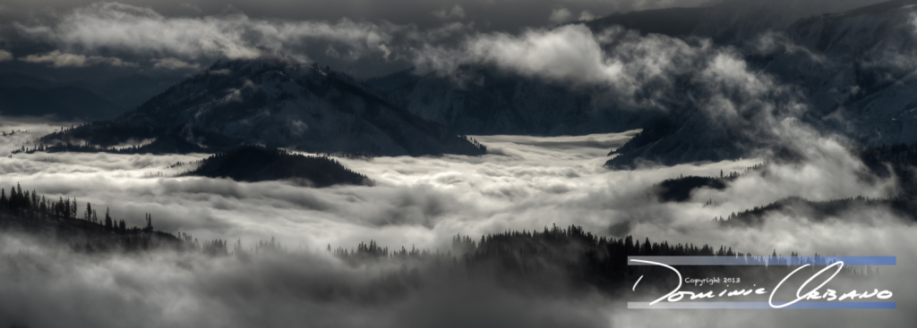 SnoCone - This photo of the Lake Wenatchee valley filled with a lake of mist has been one of my most popular panoramic images. It is not a black and white image. As a metal print the image has great depth and shows the dramatic winter scenes so indicative of the North Cascades.This image is available for purchase as a limited edition metal print. Contact photographer Dominic Urbano for purchase and delivery information.